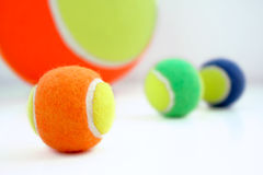 Coloured tennis balls Royalty Free Stock Photos