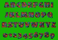 Coloured textured alphabet. Coloured  textured alphabet - with green screen so easy to cut out Stock Photography