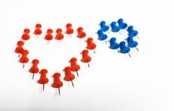 Coloured thumbtacks - heart-shaped Royalty Free Stock Image