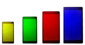 Coloured touch screen phones Stock Images