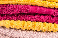 Coloured towel set for bathroom Royalty Free Stock Images