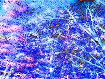 Beautiful abstract tree canopy background. Coloured tree canopy wallpaper and background. Blue, pink, and various colours Stock Photo