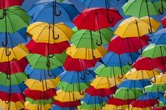 Coloured umbrellas. Many coloured umbrellas used as sun shades Stock Image