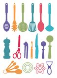 Coloured utensils. Illustration of coloured kitchen utensils used for cooking and preparing food Royalty Free Stock Photo
