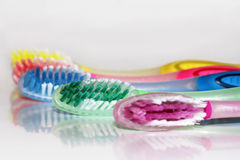 A coloured variety in toothbrushes Royalty Free Stock Photo