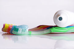 A coloured variety in toothbrushes Royalty Free Stock Images