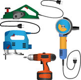 Coloured vector set of power tools with wires Royalty Free Stock Image
