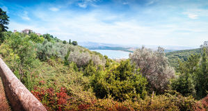 Coloured view on Golfo dei Baratti from Populonia stock image