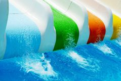 Coloured water slip in the summer royalty free stock photo