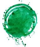 Coloured Watercolor Background. Green watercolor circle isolated on white background Stock Photo