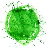 Coloured Watercolor Background. Green watercolor circle isolated on white background Stock Images