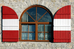 Coloured window. Window in tyrol, italy Stock Images