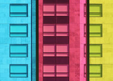 Coloured windows. Buildings viewed through coloured windows Stock Photography