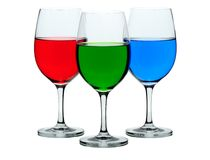 Coloured wine glasses Royalty Free Stock Image