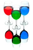 Coloured wine glasses Royalty Free Stock Photos
