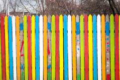 Coloured wood fence Stock Image