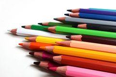 Coloured wood pencils rainbow isolated stock photos