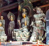 Coloured woodcarving sculpture in the Mahavira Hall (Hall of Ceremony) of Down-Huayan temple Stock Image
