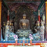 Coloured woodcarving sculpture in the Mahavira Hall (Hall of Ceremony) of Down-Huayan temple Stock Photography