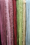 Coloured wool. Long samples of different types and colours of wool stock photography