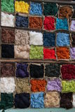 Coloured Wool. The Storage Boxes for Coloured Wool, Yarn and Material stock photo