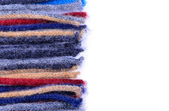 Coloured woolen threads on a white background Royalty Free Stock Photography