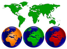 Coloured World Globes Royalty Free Stock Images