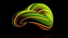 Coloured wyginał się postać torus Trójwymiarowa animacja plik kręcony w okręgu świecące nici Abstrakt ilustracji