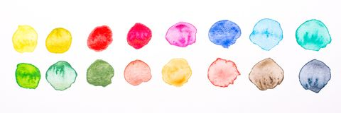 Coloured yellor red purple blue and green watercolor circles stock photography
