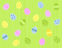 Colourfiul Green Easter Eggs. A background pattern featuring colourful Easter eggs randomly placed on green striped background Royalty Free Stock Photos