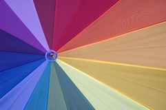 Colourful. Umbrella, detail view showing the different colored sections royalty free stock images