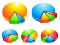 Colourful 3d pie graphs. 5 colourful 3d pie graphs isolated on white Royalty Free Stock Image
