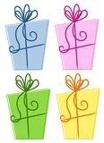 Colourful Abstract Gift Boxes. An illustration featuring your choice of 4 colourful gift boxes wrapped in various colors and ribbon Royalty Free Stock Images