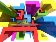 Colourful abstract L shape block background Stock Images