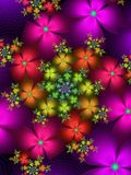 Flower spiral pattern. Colourful abstract repeating flower spiral pattern Stock Photos
