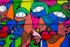 Colourful abstract urban art. Graffiti artwork in mixed paint colours. Shoreditch, London Stock Photography
