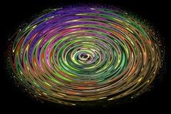Colourful abstrakcjonistyczny twirl wzór na czarnym tle zdjęcia stock