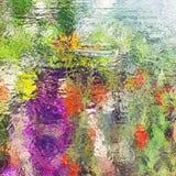 Colourful abstrakcjonistyczny witraż Warzywa odbicie w okno Fotografia Royalty Free