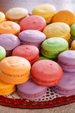 Colourful macarons. Shallow depth of field. Focus in the centre of photo stock photos