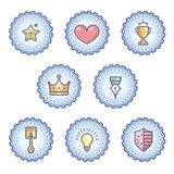Colourful Achievement Badges with outline gear. Achievement badges for awards or applications. Set of soft colour badges and label logo graphics. Design elements Royalty Free Stock Images