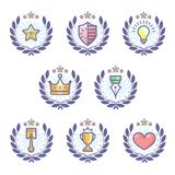 Colourful Achievement Badges with wreath decoration. Achievement badges for awards or applications. Set of soft colour badges and label logo graphics. Design Royalty Free Stock Image