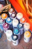 Colourful aerosolowej kiści farby puszki graffiti obrazem Obraz Royalty Free