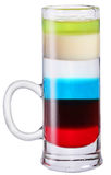 Colourful alcohol coctail in shot glass. Stock Photo