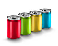 Colourful aluminum can. Isolated on white background Royalty Free Stock Photos