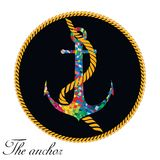 Colourful anchor on the black background. vector Stock Photo