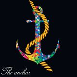 Colourful anchor on the black background. vector Stock Image