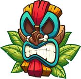 Colourful angry tiki mask. Cartoon colorful tiki mask with leaves. Vector clip art illustration with simple gradients. All in a single layer royalty free illustration