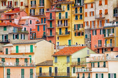 Colourful apartment buildings in Cinque terre, Italy. Stock Photography