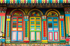 Colourful Architecture of Little India, Singapore Stock Images