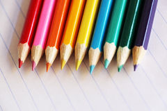Colourful array of pencil crayons Stock Photos